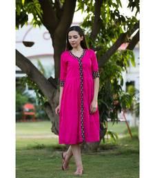 pink plain cotton dresses