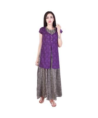 purple printed cotton dresses