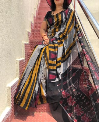 Odisha handwoven Ikat Weaving Cotton Saree without Blouse