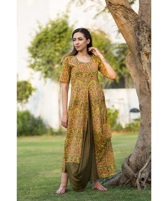 mustard printed cotton dresses