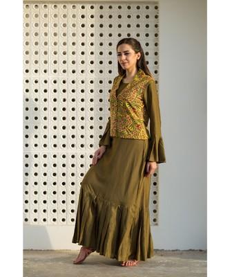 mustard plain cotton dresses