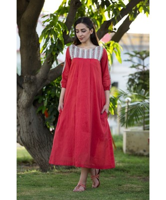 red printed handloom cotton dresses