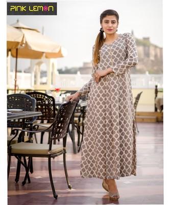 brown printed cotton dresses