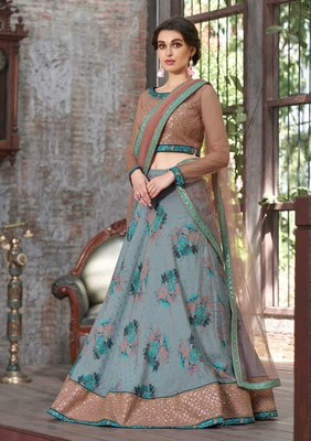 Light blue embroidered silk semi stitched lehenga with dupatta