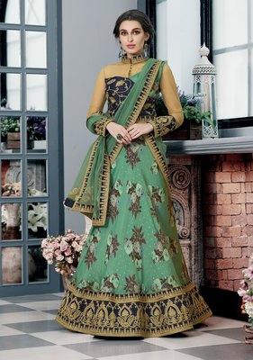 Green embroidered silk semi stitched lehenga with dupatta