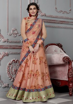 Peach embroidered silk semi stitched lehenga with dupatta