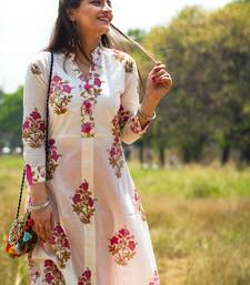 White Hand Block Printed Cotton stitched kurti
