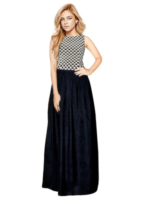 Black abstract print crepe gown