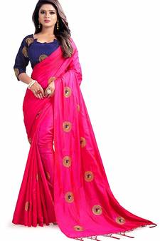 3fbbdeeb6aac1 Pink paper Silk Designer Embroidery Saree With Blouse