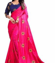Pink paper Silk Designer Embroidery Saree With Blouse
