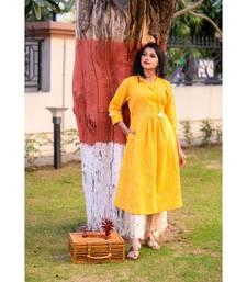 golden Yellow kurta with pearl embellishment