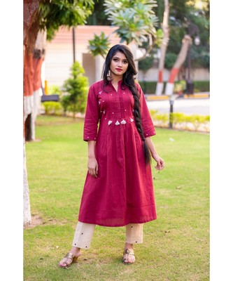 Pomegranate red kurta with pearl embellishment