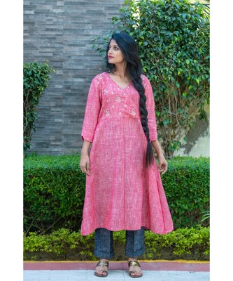 carrot Pink Angarkha kurta with gota patti work