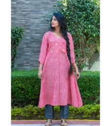 carrot Pink Angarkha kurta with gota patti work