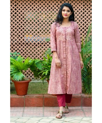 A classic brown coloured kurta with exotic gota patti work