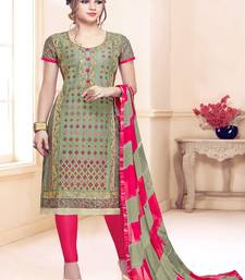 Olive thread embroidery cotton salwar
