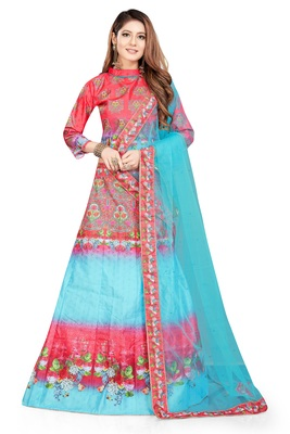 Multicolor Digital Print Art Silk Semi Stitched Lehenga