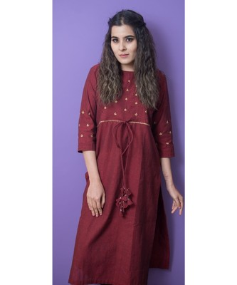 Maroon Designer Kurta With Golden Embroidery