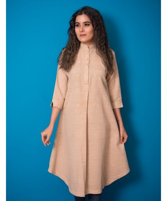 BEIGE LEAF MINIATURE KHADI COTTON KURTA