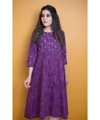 PURPLE GOTA PATTI KHADI COTTON DRESS