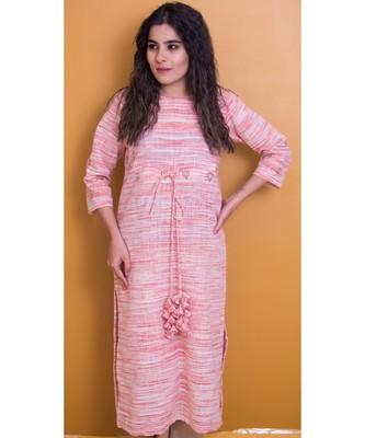 Light Rose Pink And Cream Kurta In Khadi Cotton