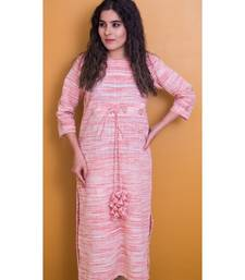 Light Rose Pink And Cream Kurta In Khadi Cotton