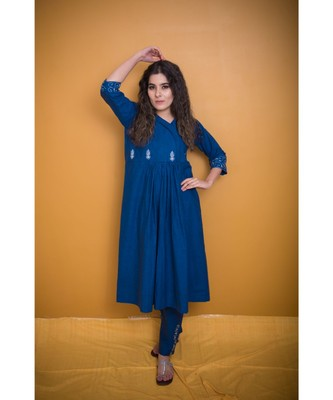 Navy Blue Khadi Classic Gotta Patti Kurta with Coat Neck