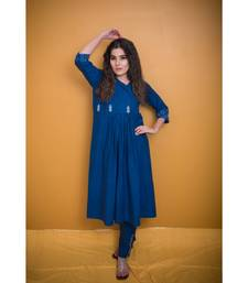 Navy Blue Khadi Classic Gotta Patti Kurta with Coat Neck