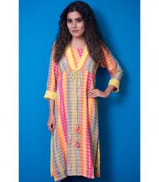 multicoloured khadi cotton kurta