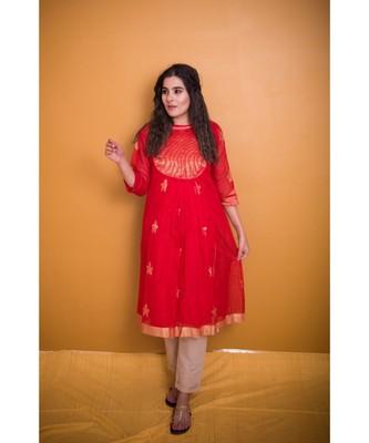red chanderi work kurta with golden yoke