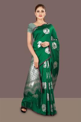 green woven art silk banarasi saree with blouse piece