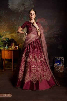 Blood red gilter sequins embroidered satin unstitched lehenga choli with dupatta