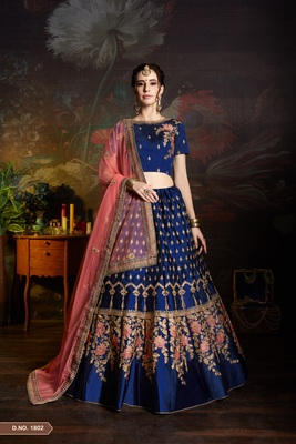 Blue Resham and sequins embroidered satin unstitched lehenga choli with dupatta