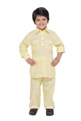Yellow plain cotton   boys kurta pyjama