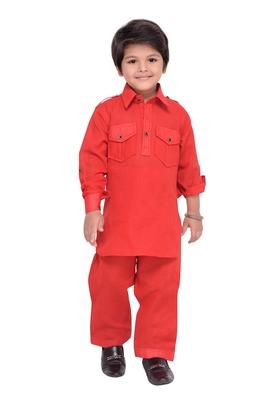 Red plain cotton   boys kurta pyjama