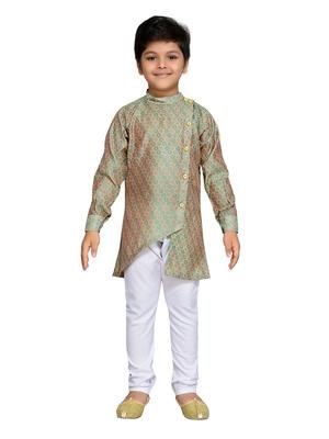 Green woven cotton boys kurta pyjama