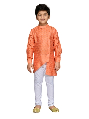 Orange woven cotton boys kurta pyjama