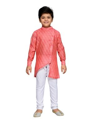 Pink woven cotton boys kurta pyjama