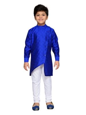 Blue woven cotton boys kurta pyjama