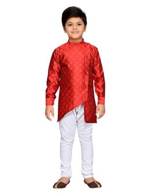 Maroon woven cotton boys kurta pyjama