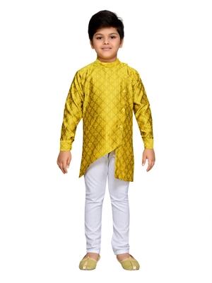 Yellow woven cotton boys kurta pyjama