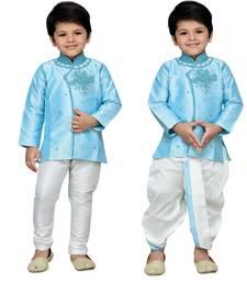 Blue embroidered cotton boys kurta pyjama