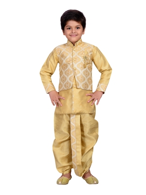 Fawn embroidered brocade boys dhoti kurta