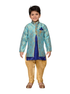 Blue woven cotton silk boys kurta pyjama