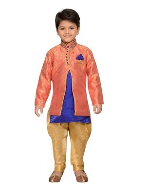 Orange woven cotton silk boys kurta pyjama