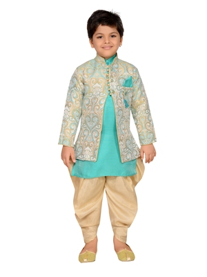Green woven silk blend boys sherwani