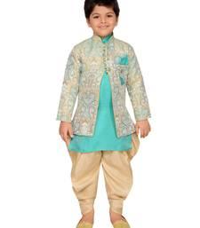 Green woven silk blend boys sherwani