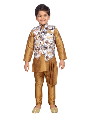 Gold printed silk blend boys kurta pyjama