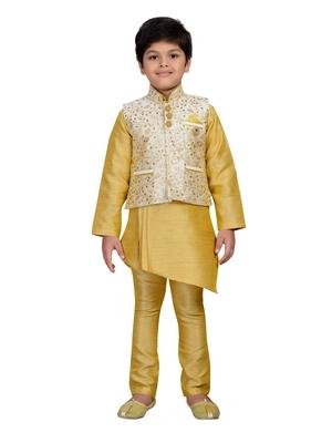 Gold embroidered raw silk boys kurta pyjama