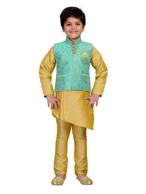 Gold embroidered raw silk boys kurta pyjama